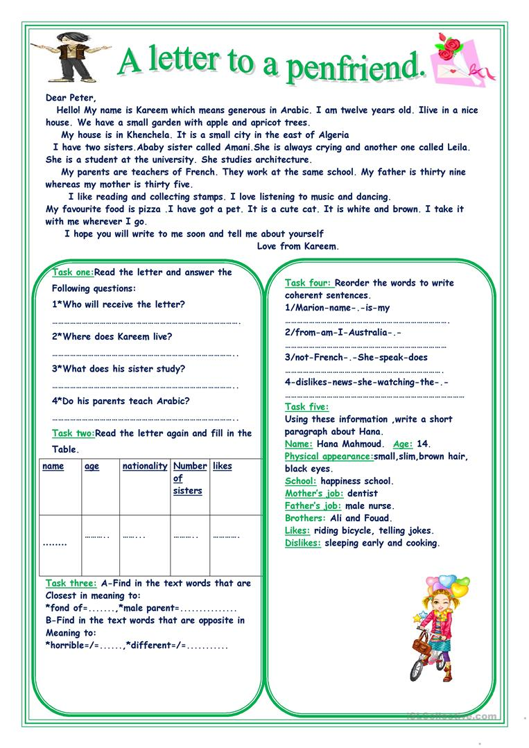 A letter to a penfriend worksheet free esl printable worksheets a letter to a penfriend full screen thecheapjerseys Images
