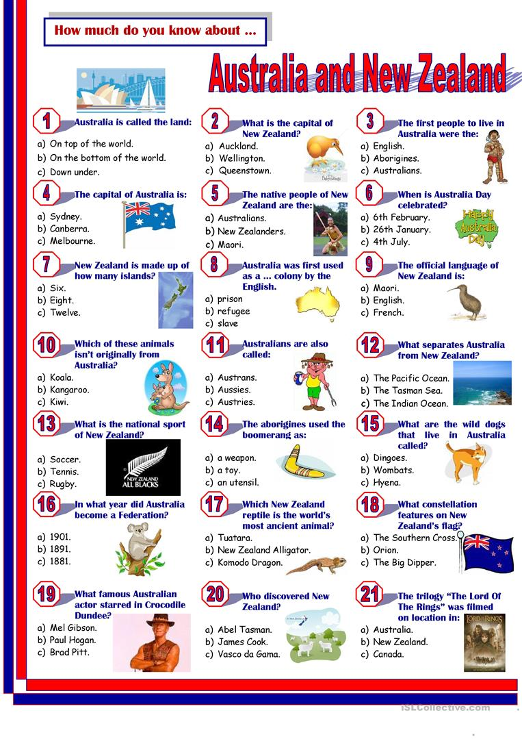 Esl Worksheet New Zealand Ora Exacta
