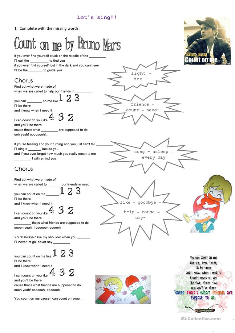 worksheet Friendship Worksheets 43 free esl friendship worksheets count on me by bruno mars