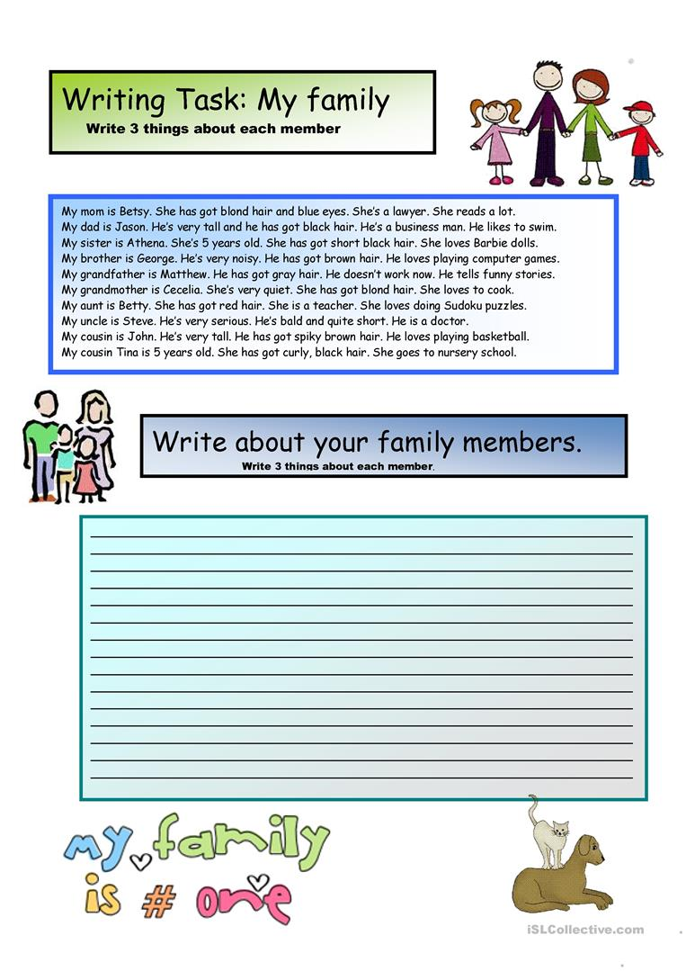my family paragraph writing How to write about your family writing about your family can be a daunting task, especially if you are worried about getting your family's story just right you may be writing about your family history for a class or for personal reasons.