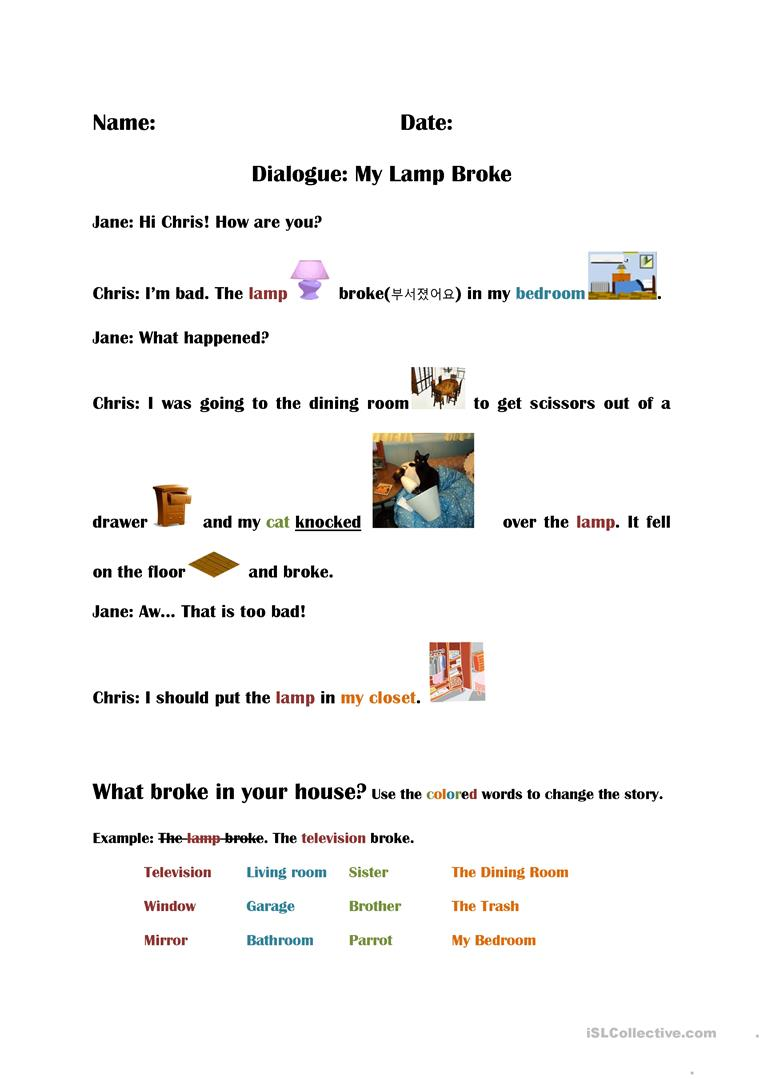 Dialogue Simple Past tense English ESL Worksheets