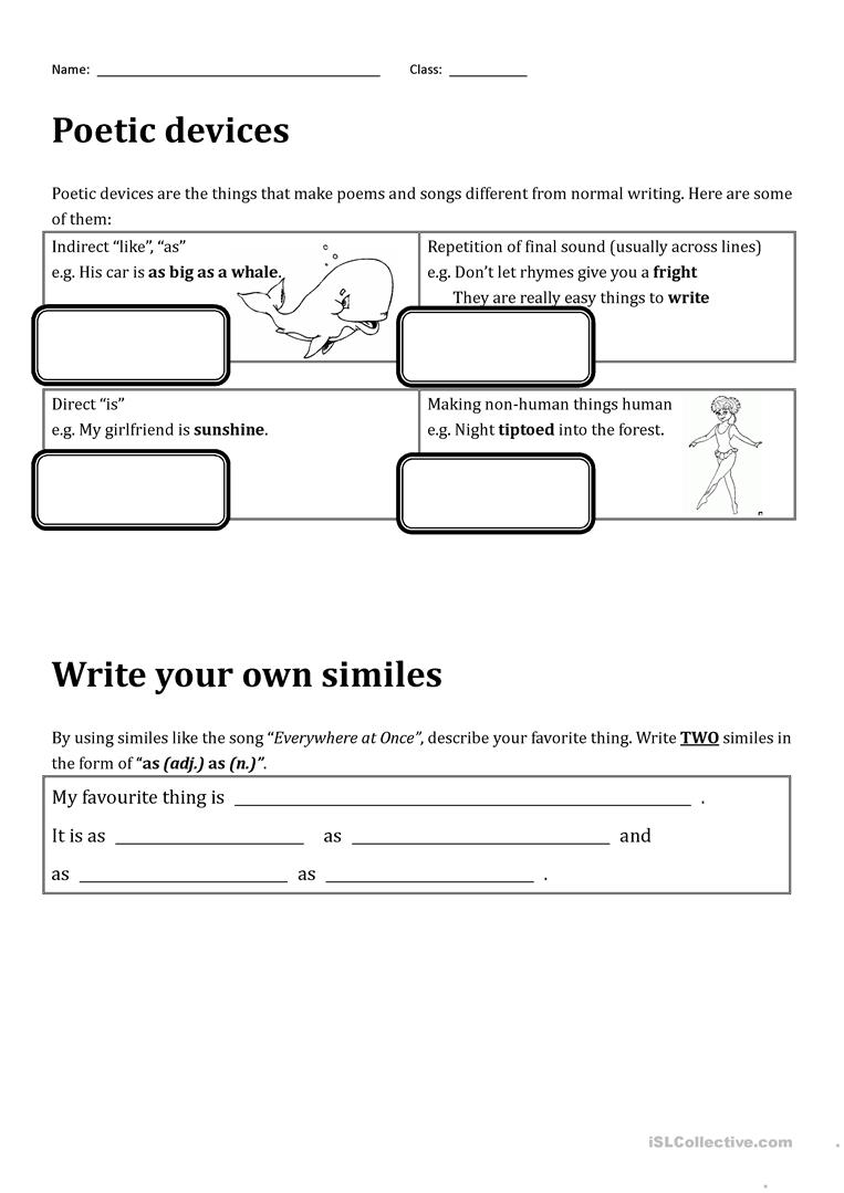 worksheet Identifying Poetic Devices Worksheet everything at once by lenka an introduction to poetic devices full screen
