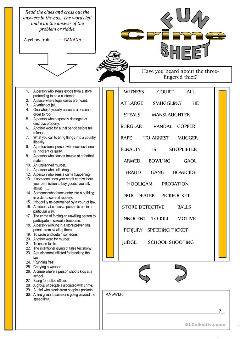 159 FREE ESL Crime, law and punishment worksheets