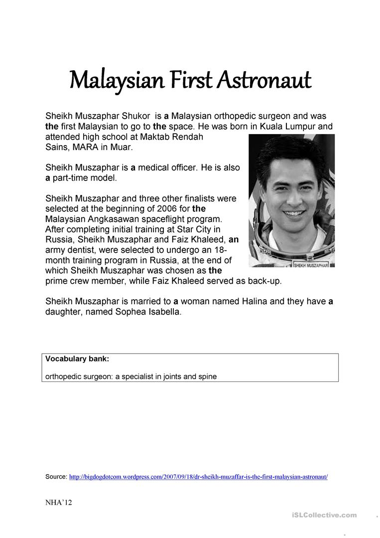 4 free esl malaysia worksheets malaysian first astronaut esl worksheets m4hsunfo