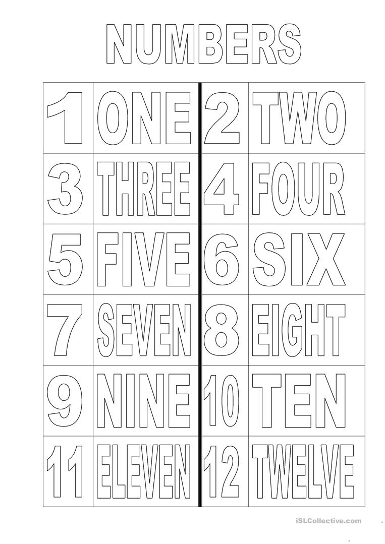 Numbers 1 12 Colouring Page English Esl Worksheets