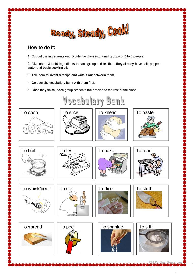 Worksheets Basic Cooking Terms Worksheet ready steady cook worksheet free esl printable worksheets made full screen