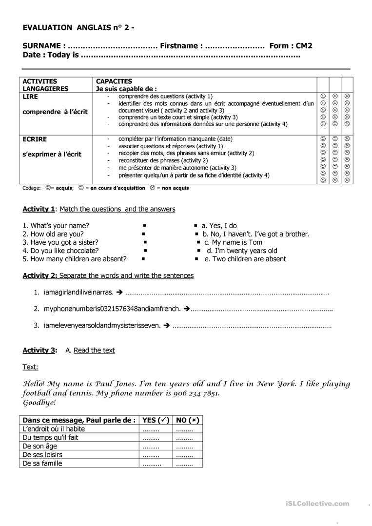Test For Kids Learning English Worksheet Free Esl Printable