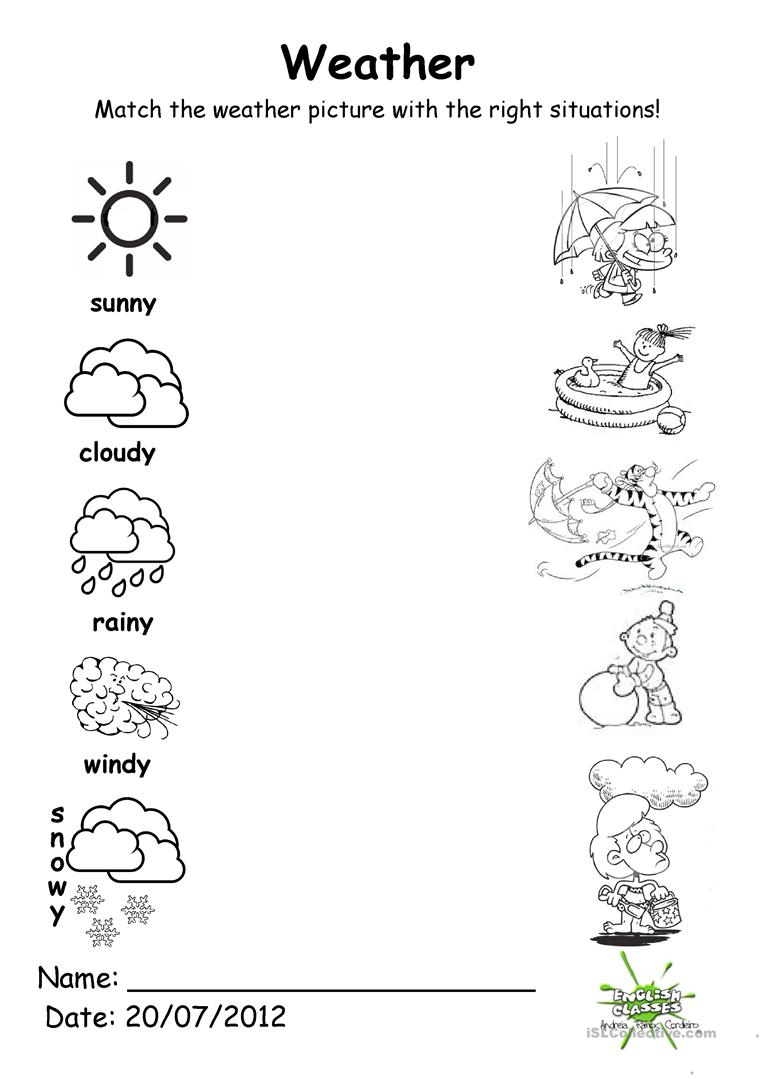 weather match english esl worksheets. Black Bedroom Furniture Sets. Home Design Ideas