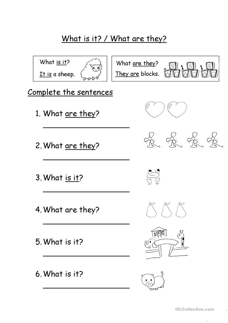 What are they/What is it? - English ESL Worksheets
