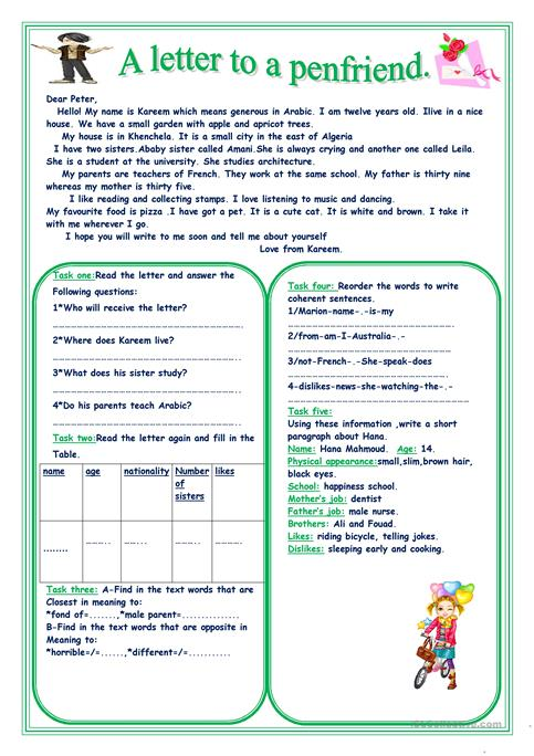 A letter to a penfriend worksheet free esl printable worksheets a letter to a penfriend altavistaventures Choice Image