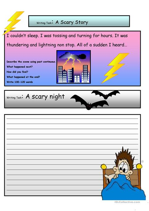 creative writing a scary story a level worksheet esl  creative writing a scary story 3 a2 level