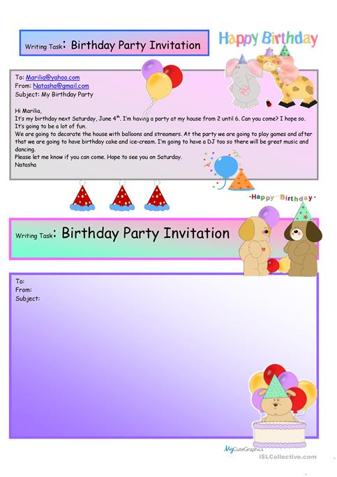 Creative writing birthday party invite 16 a1 level worksheet creative writing birthday party invite 16 a1 level stopboris Images