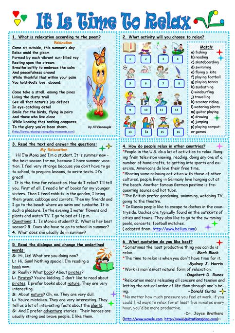It is time to relax worksheet - Free ESL printable worksheets made ...