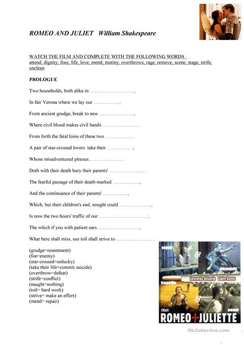 Romeo And Juliet Worksheet Free Esl Printable Worksheets Made By
