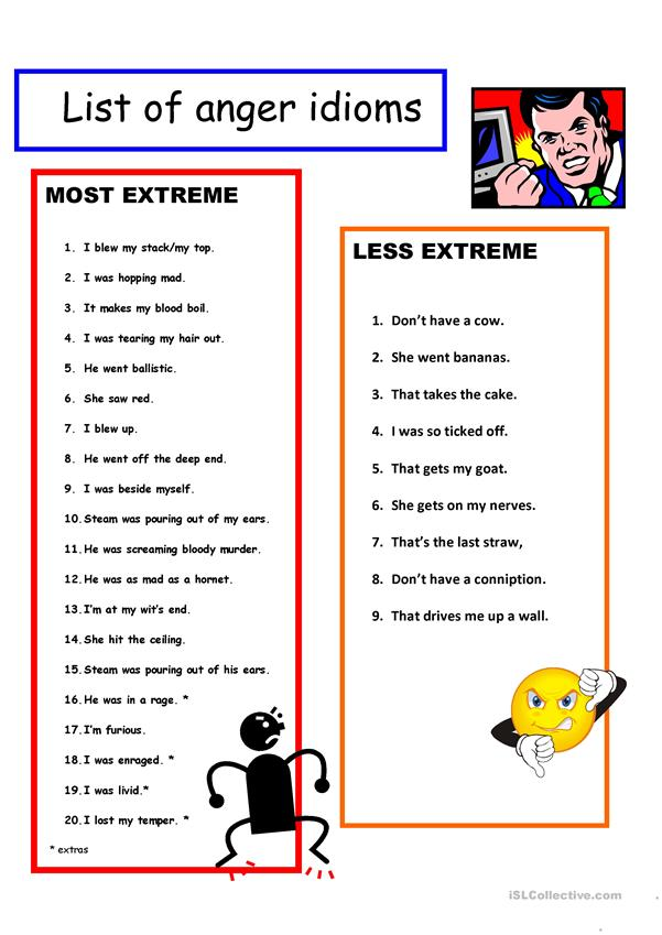 Idioms for Anger Poster + B&W + Worksheet + KEY