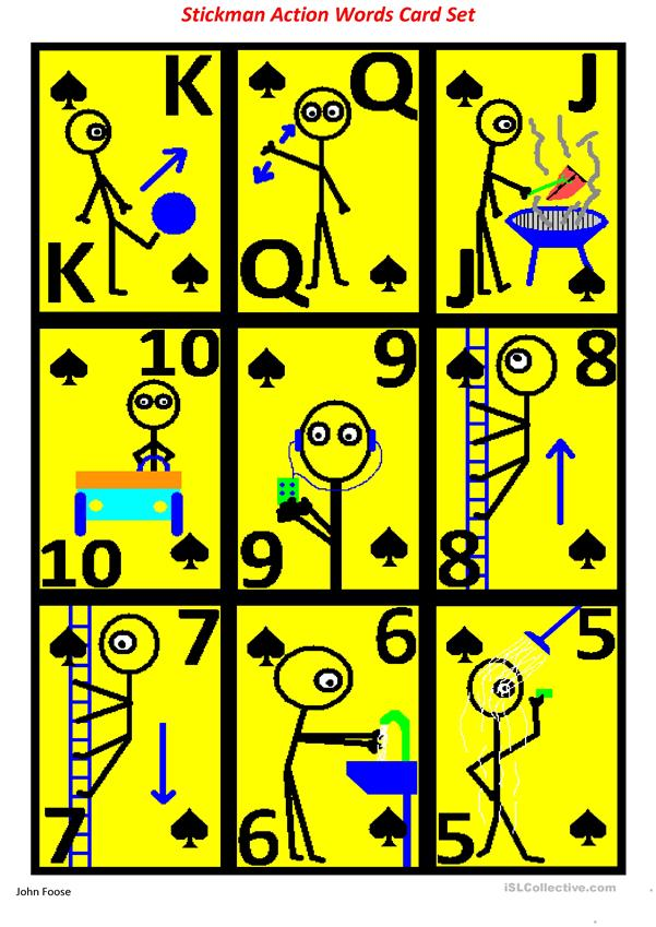Action Words with Stickman 52 playing card set