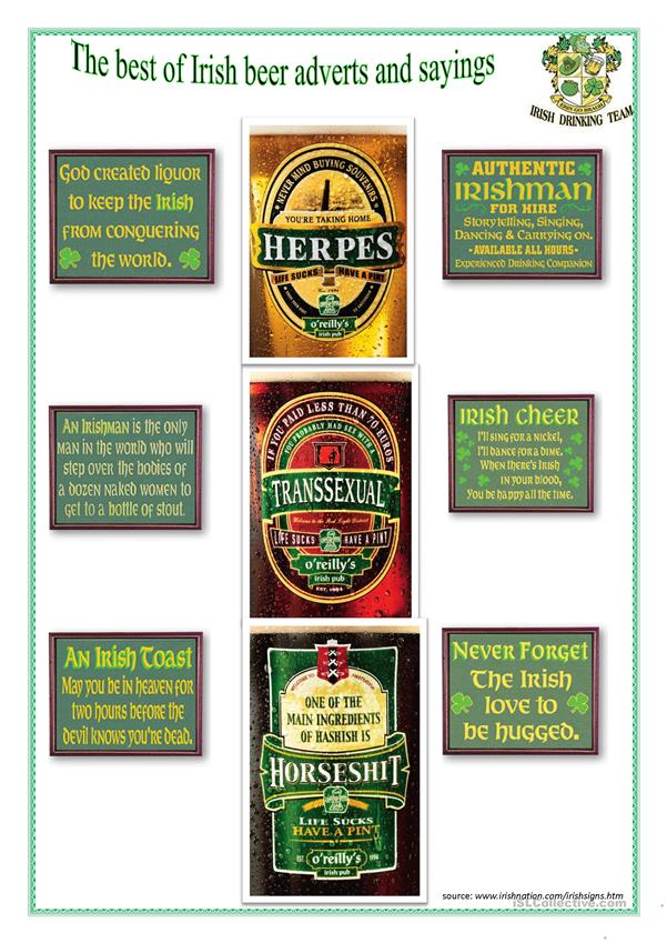 Best Irish Beer Adverts and Sayings