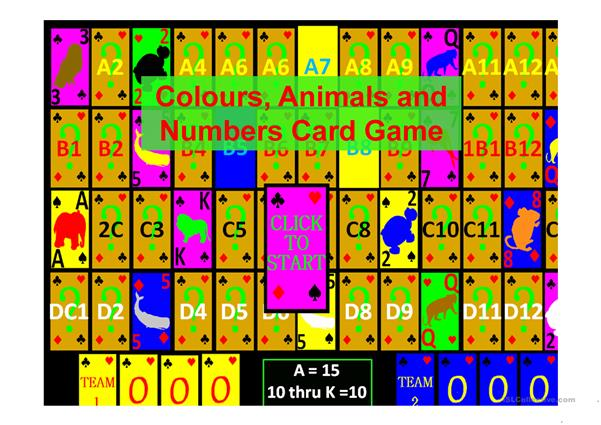 Colours, Animals and Numbers Card Game