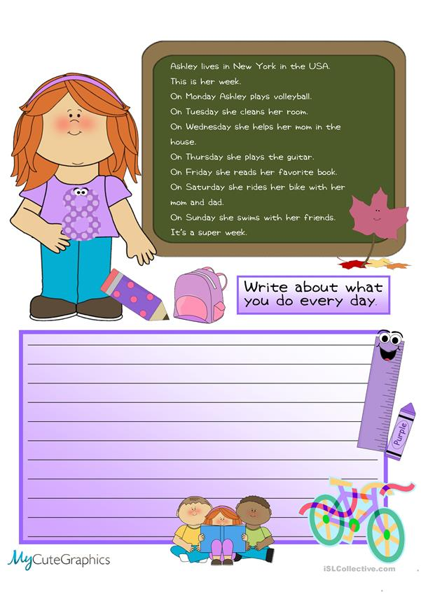 Creative Writing: Ashley's Daily Routines # 10 Beginner