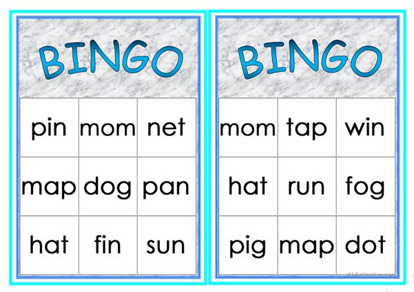 Cvc words Bingo