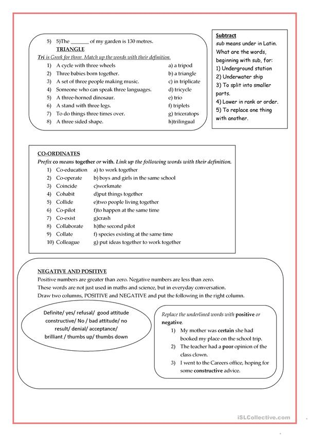 Language activities for maths