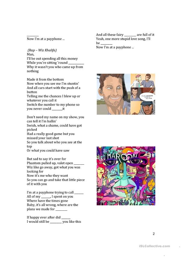 Maroon 5's 'Payphone' (clean lyrics) Worksheet