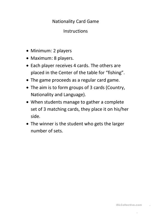 Nationalities  - Card Game Instructions