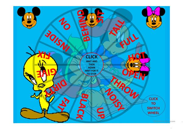 Opposites With Mickey and Minnie Spin the Wheel Game