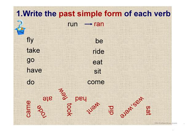 past simple-preposition of time
