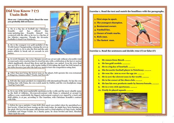 Reading - Did You Know? (7) - USAIN BOLT