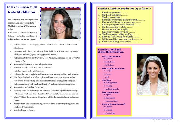 Reading - Did You Know ? (8) - Kate Middleton