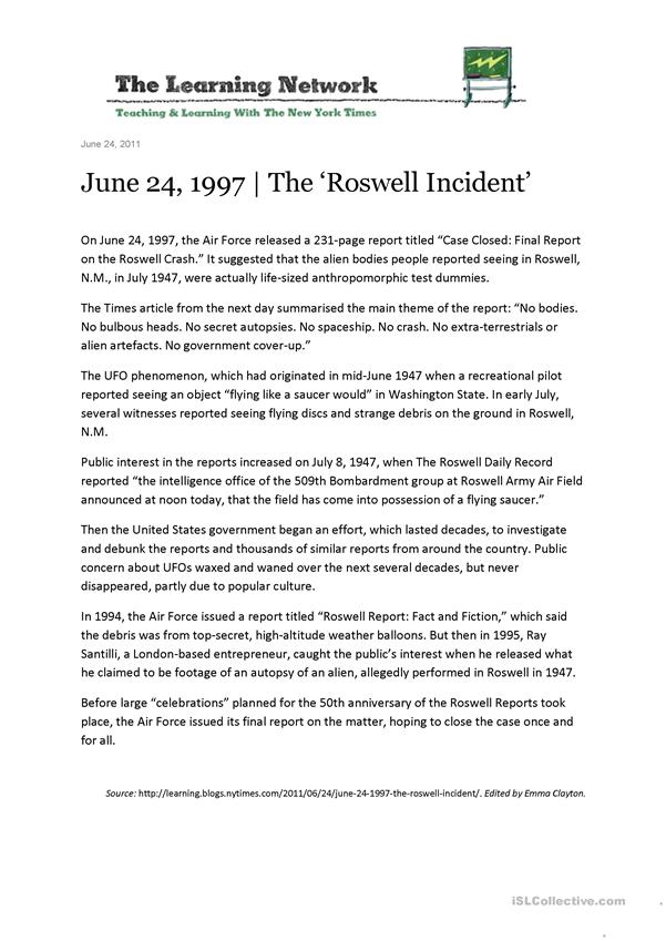 Roswell UFO Reading, Vocabulary & Speaking