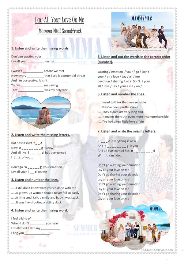Song Worksheet - Lay All Your Love On Me