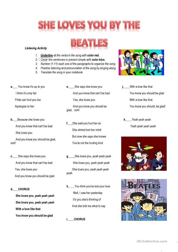Song Worksheet: She loves you by the Beatles