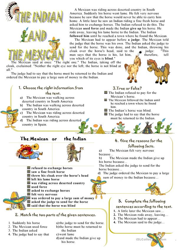 The Indian and the Mexican. Reading + Speaking (6 exercises with Keys)