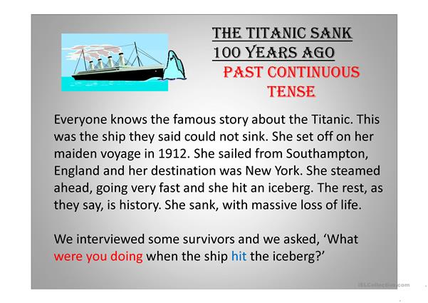The past continuous tense with Titanic