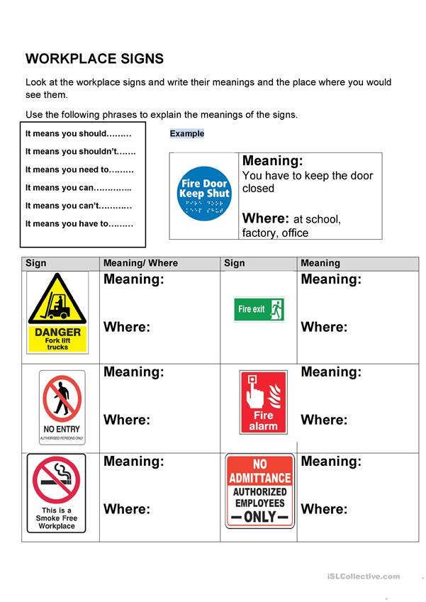 Workplace English- Workplace signs