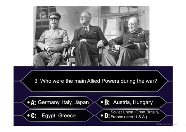World War II Unit Review: Who wants to be a millionaire?