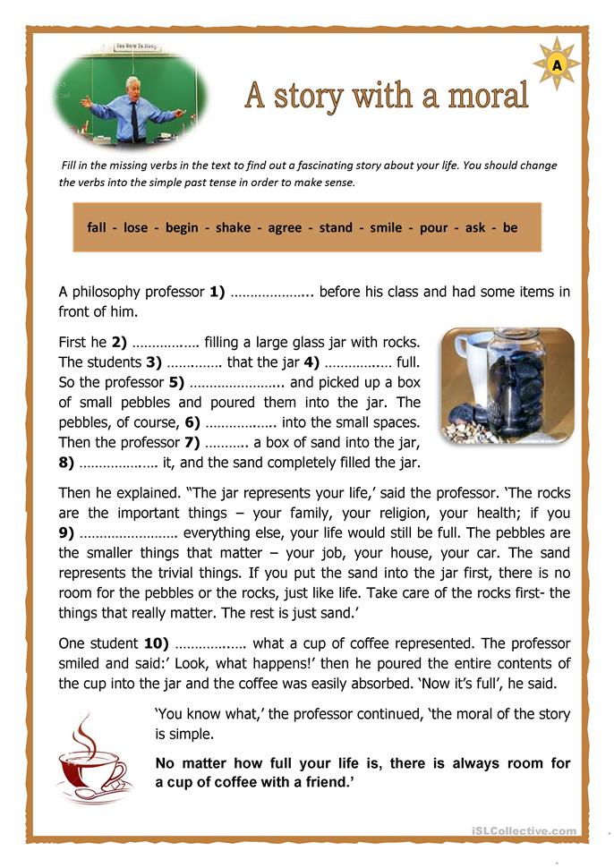 a story with a moral 1a - ESL worksheets