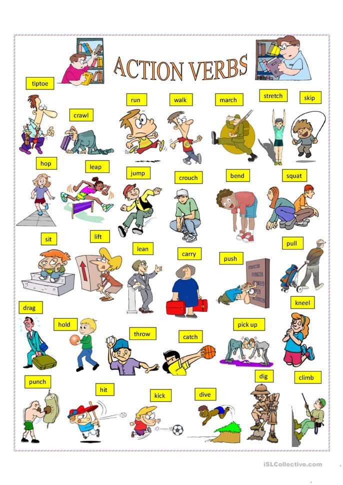 90 FREE ESL action verbs worksheets