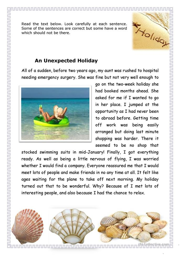 An unexpected holiday - ESL worksheets