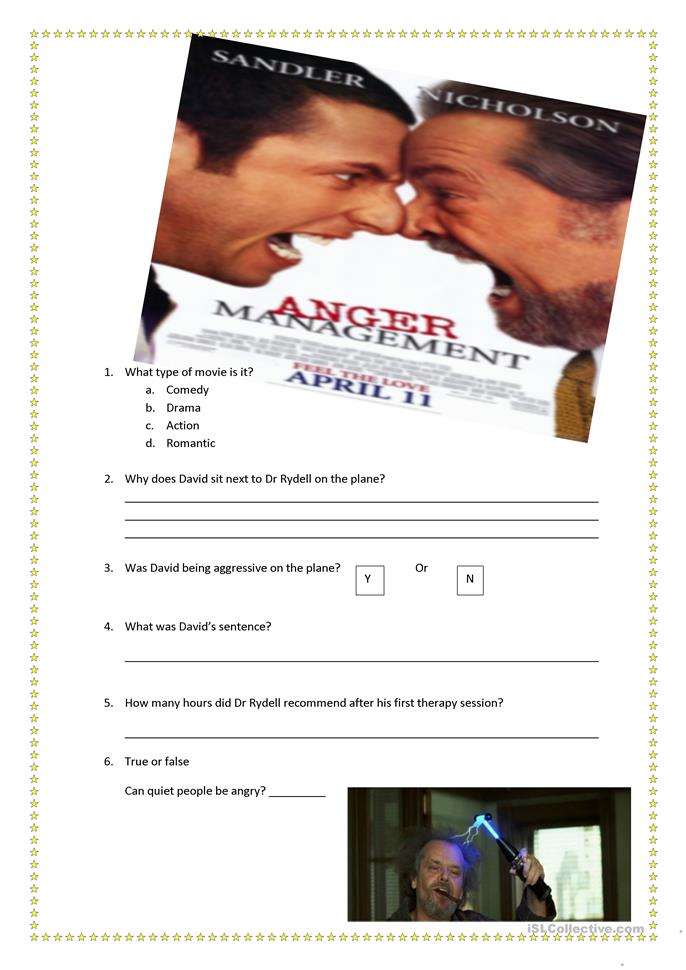 Anger Management Movie Worksheet worksheet - Free ESL printable ...