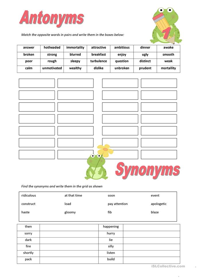 All Worksheets » Synonyms And Antonyms Worksheets High ...