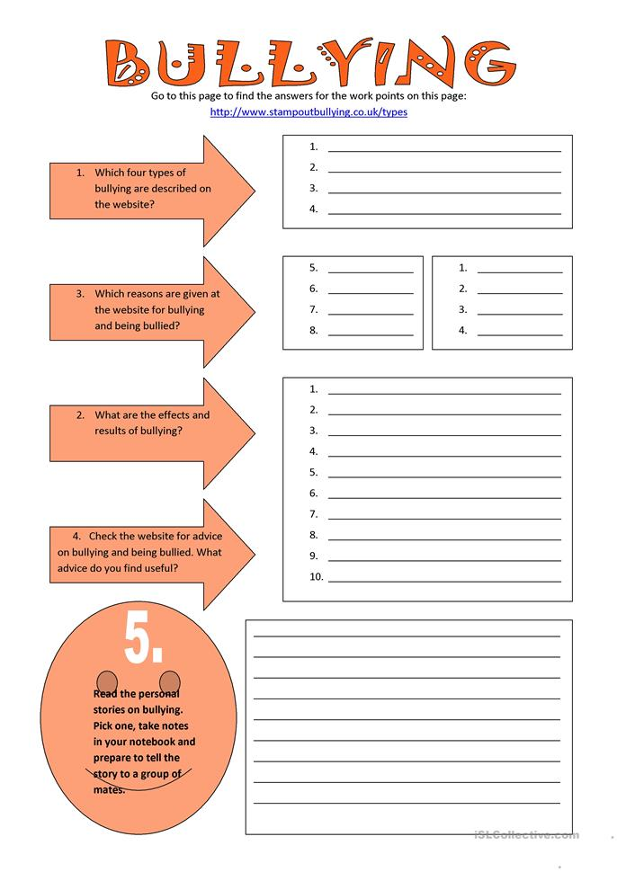 Printables Free Printable Bullying Worksheets 38 free esl bullying worksheets bullying