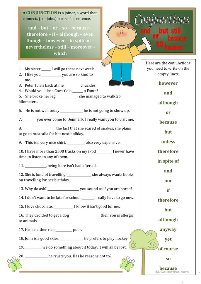 Conjunctions - ESL worksheets