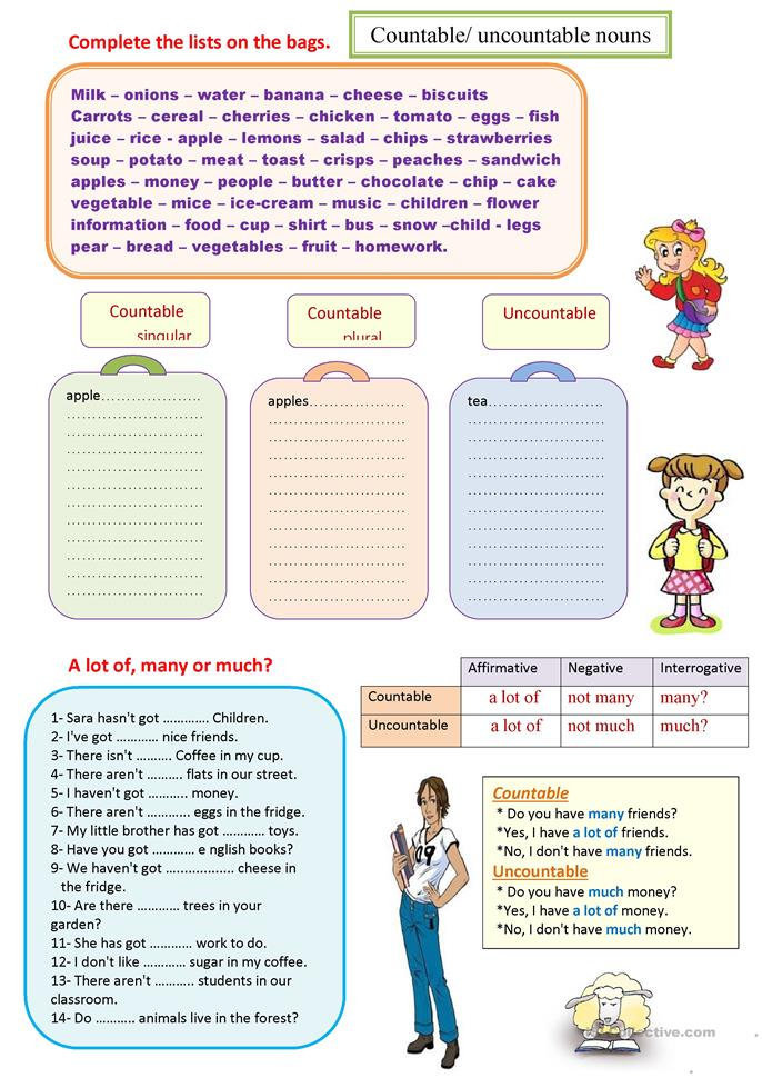 Countable and uncounta... - ESL worksheets