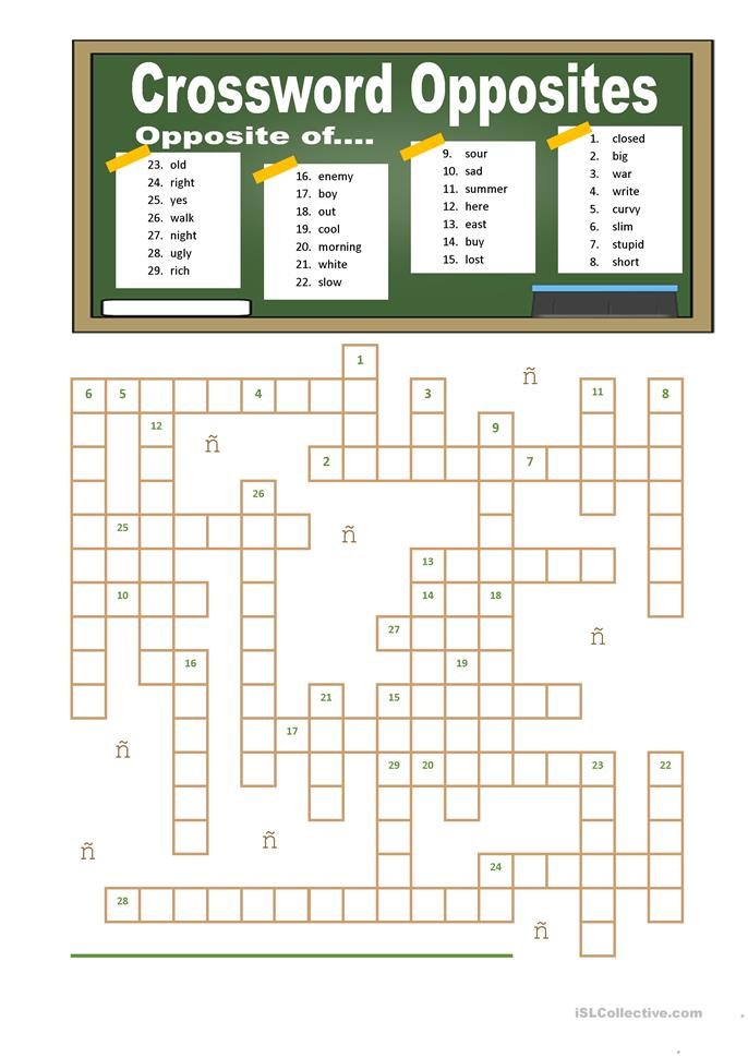 Crossword Opposites  - ESL worksheets