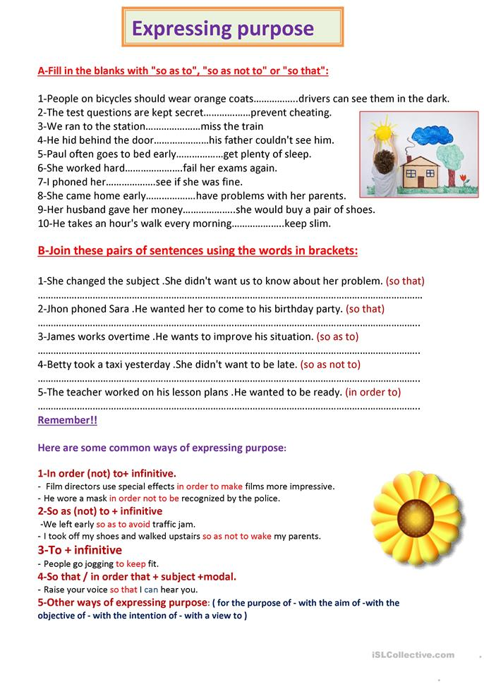 56 FREE ESL Clauses of purpose (e.g. in order to, so that, so as ...