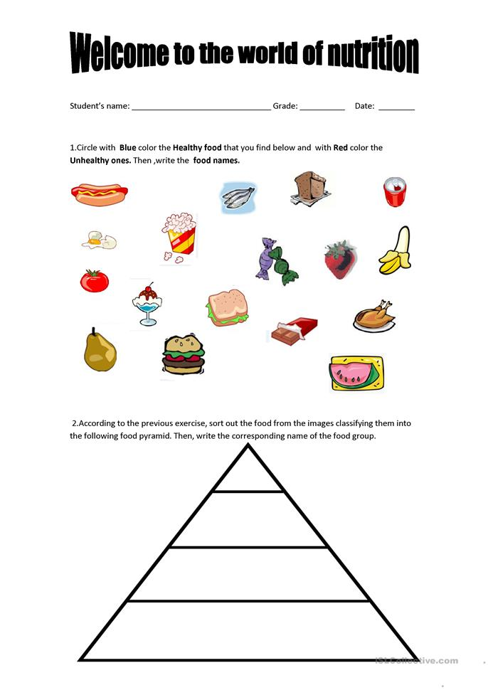 Printables Healthy Living Worksheets 96 free esl healthy worksheets food pyramid and unhealthy food