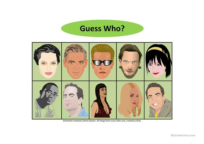 Guess Who?/Who's Who? - Adult Version - ESL worksheets